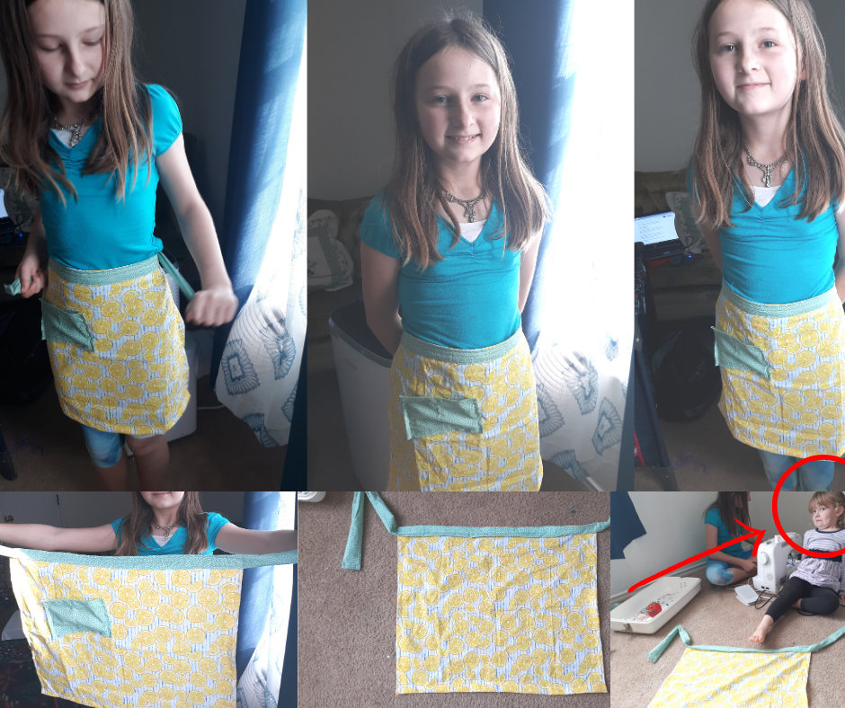 collage of girl wearing a blue shirt making and wearing a yellow and green 1-hour apron