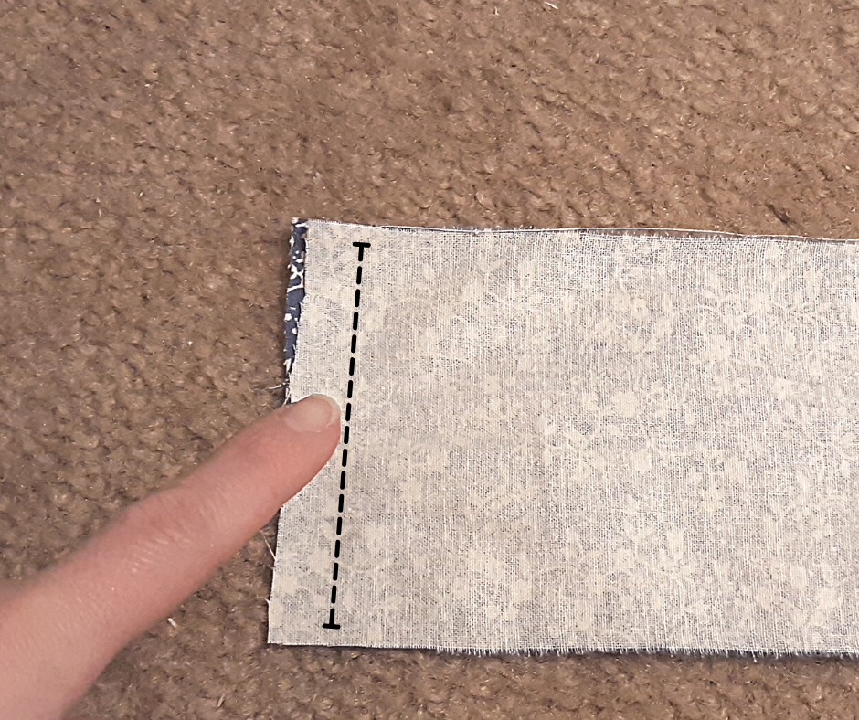 white backside of the fabric strips for the 1 hour apron tie