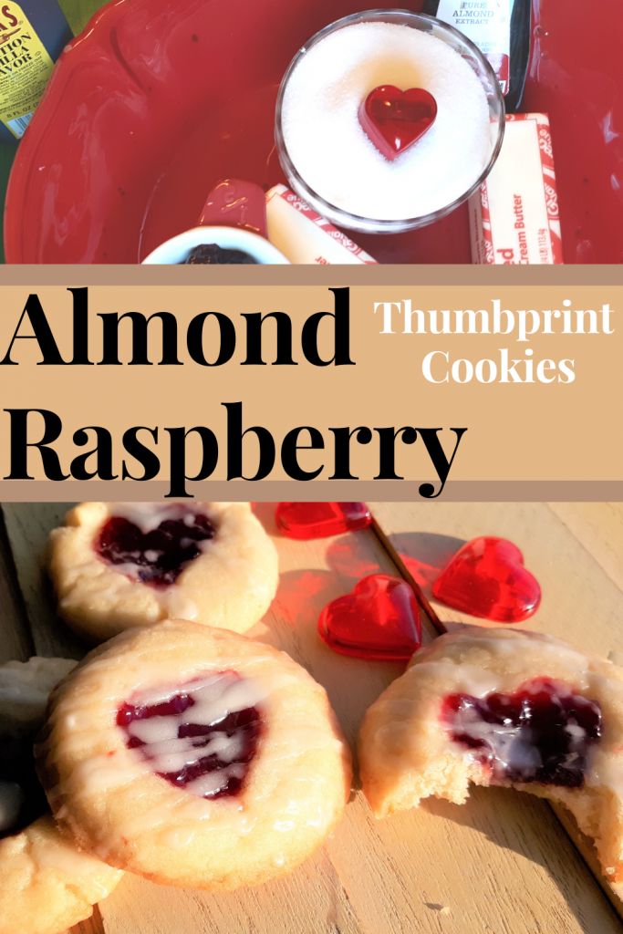 almond raspberry thumbprint cookies, ingredients in a red bowl at the top, finished iced cookies on wood at the bottom