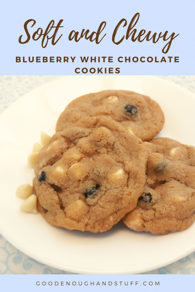 blueberry white chocolate cookies on a white plate