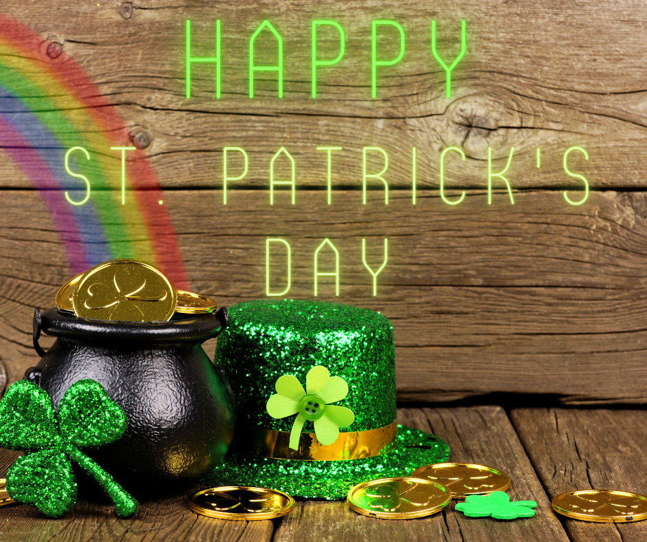 coins and decorations for St. Patrick's Day and a treasure hunt