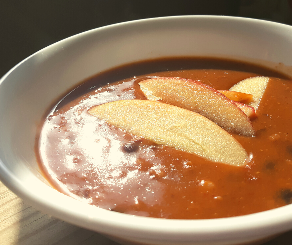 sweet chili with apples in a white bowl