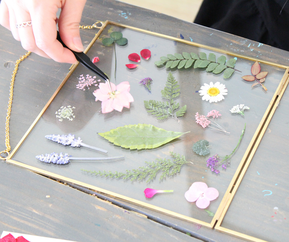 placing dried flowers in the glass frame