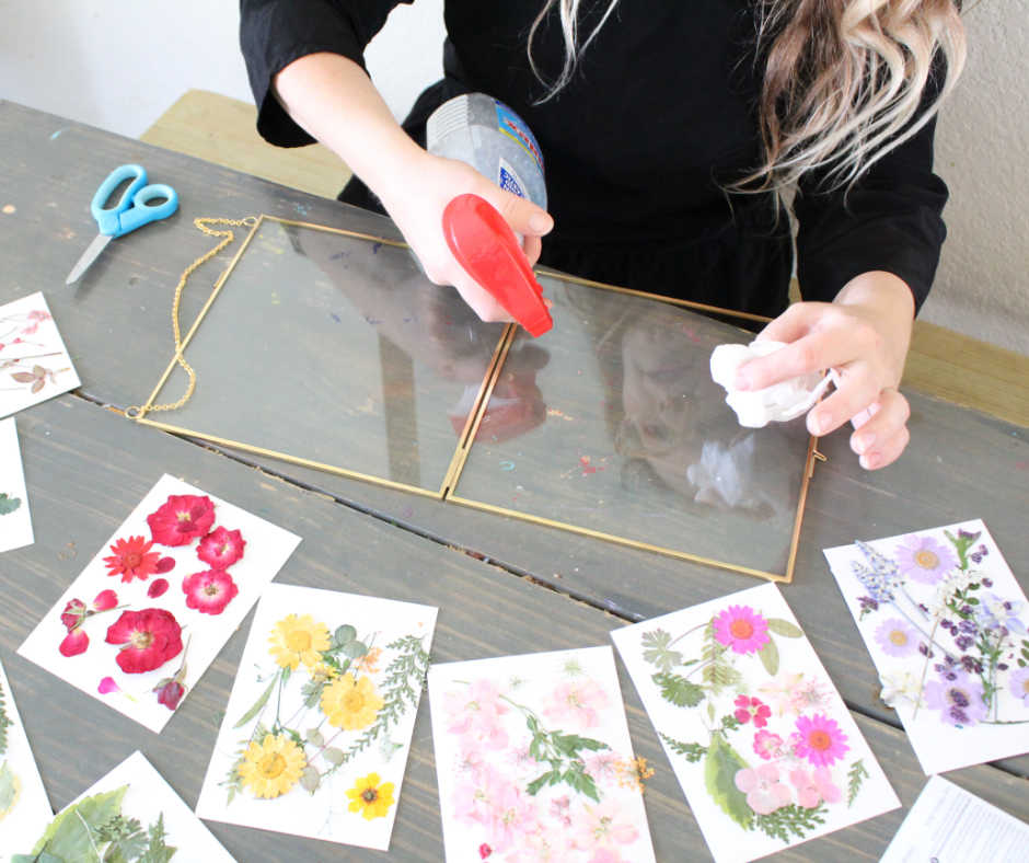 cleaning the glass for pressed flowers