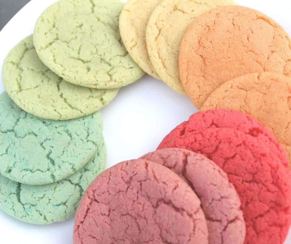 rainbow cookies in a circle on a plate