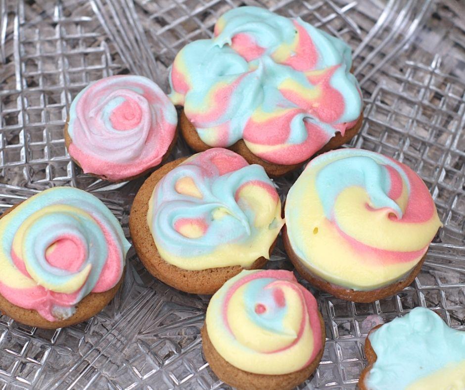 rainbow cheesecake cookies on a crystal platter