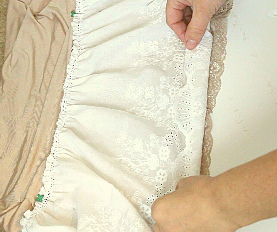 white lace on a half slip