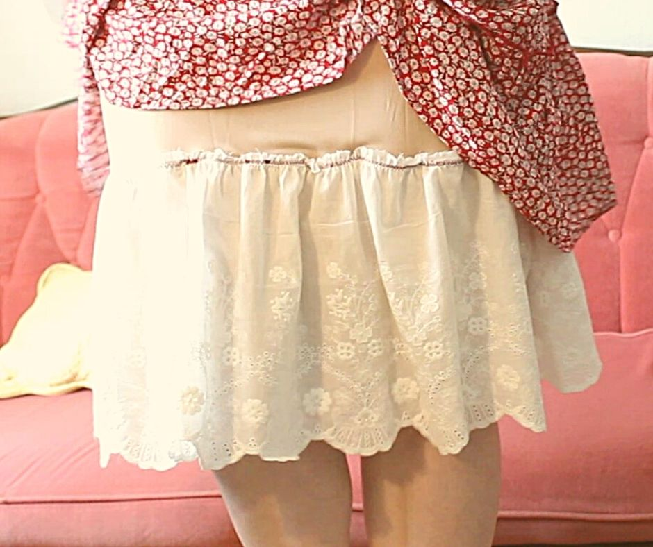 lace attached to a half slip