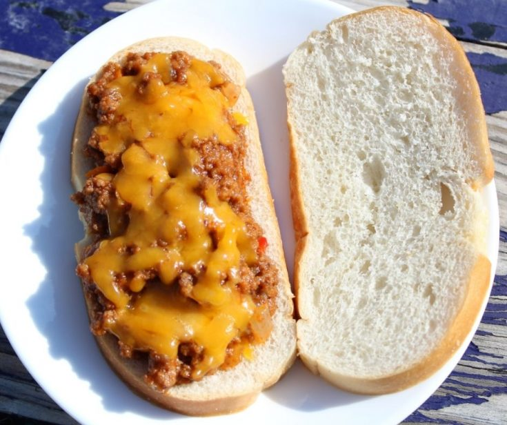 sloppy joe mix with cheddar cheese on two slices of bread, on a white plate in the sun.