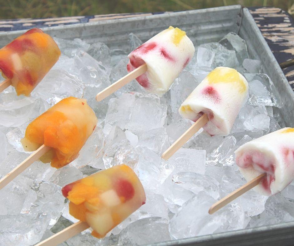 fruit and yogurt freezer pops