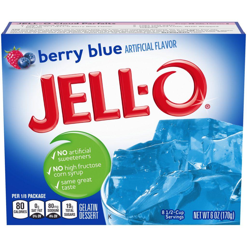 berry blue Jello box