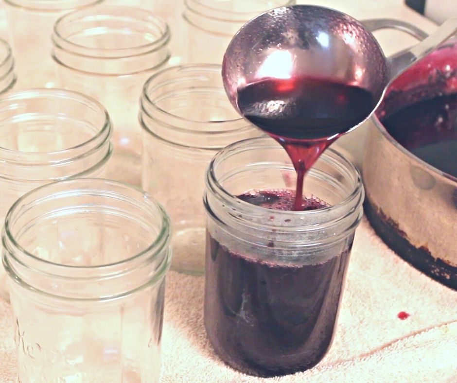 pouring mustang grape jelly into canning jars with a ladle